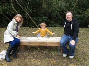 Tim & family with his bench