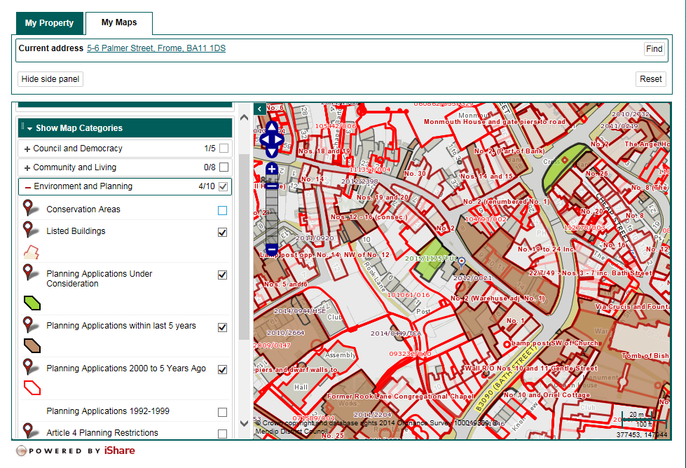 screenshot of Mendip council's planning map