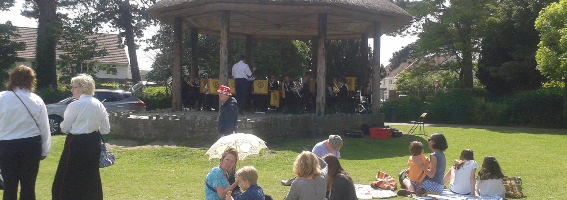Band playing in the band stand at Victoria Park, Frome