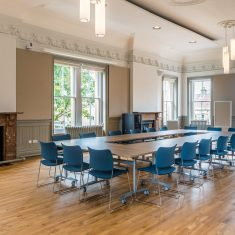 The Council Chamber at Frome Town Hall, available for hire for events including meetings, conferences and parties.