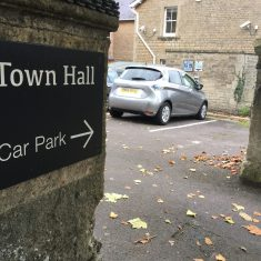 The e-car club car located at Frome Town Hall and available for hourly hire