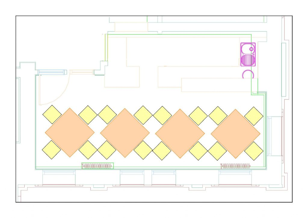 Plan of room layout in Frome Town Hall.