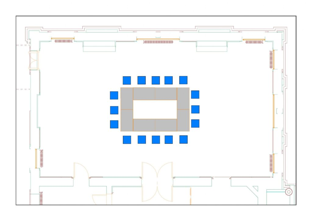 Council Chamber example layout with 16 chairs and 8 tables - boardroom