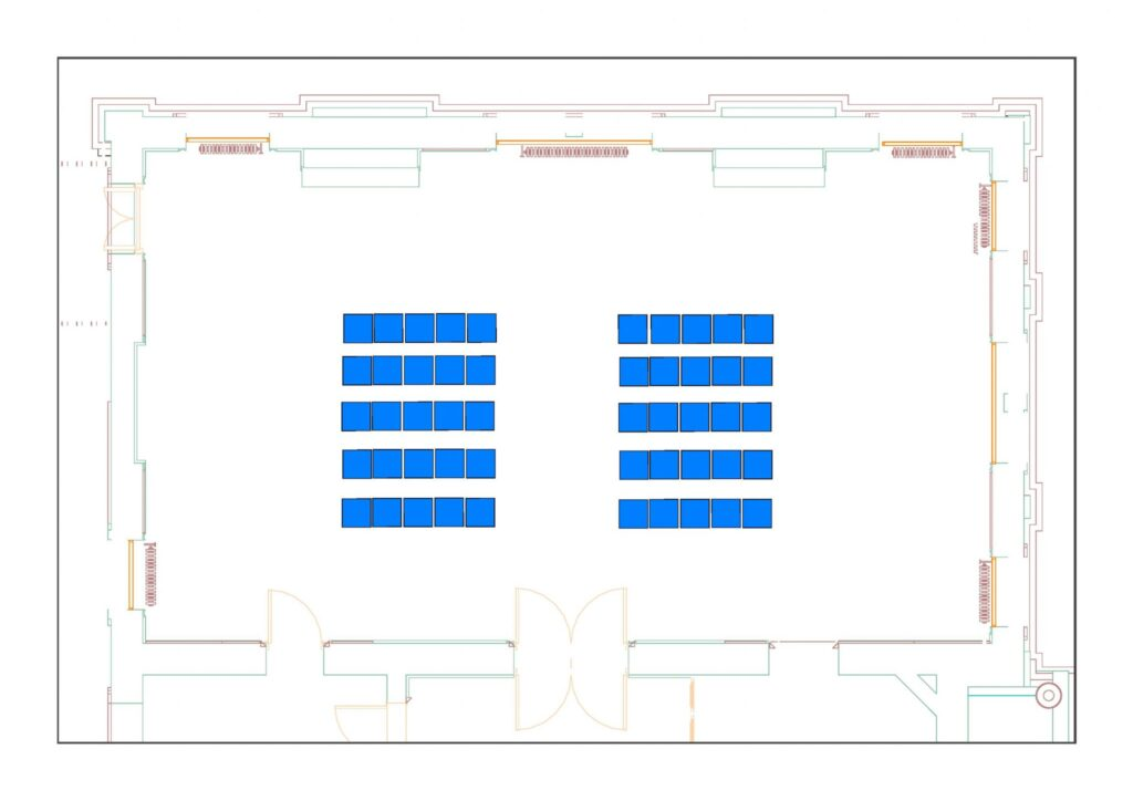 Council Chamber example layout with 50 chairs - theatre