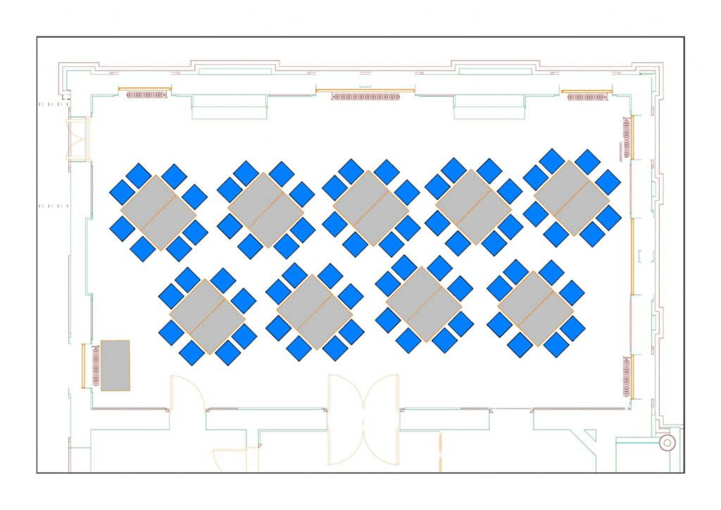 Council Chamber example layout with 72 chairs and 19 tables
