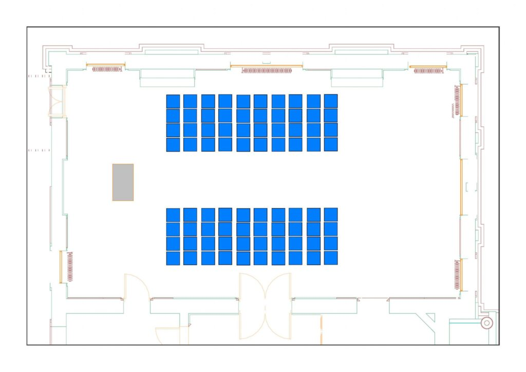 Council Chamber example layout with 80 chairs 1 table - theatre