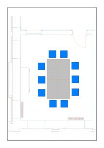 Floor plan with 10 chairs around a table