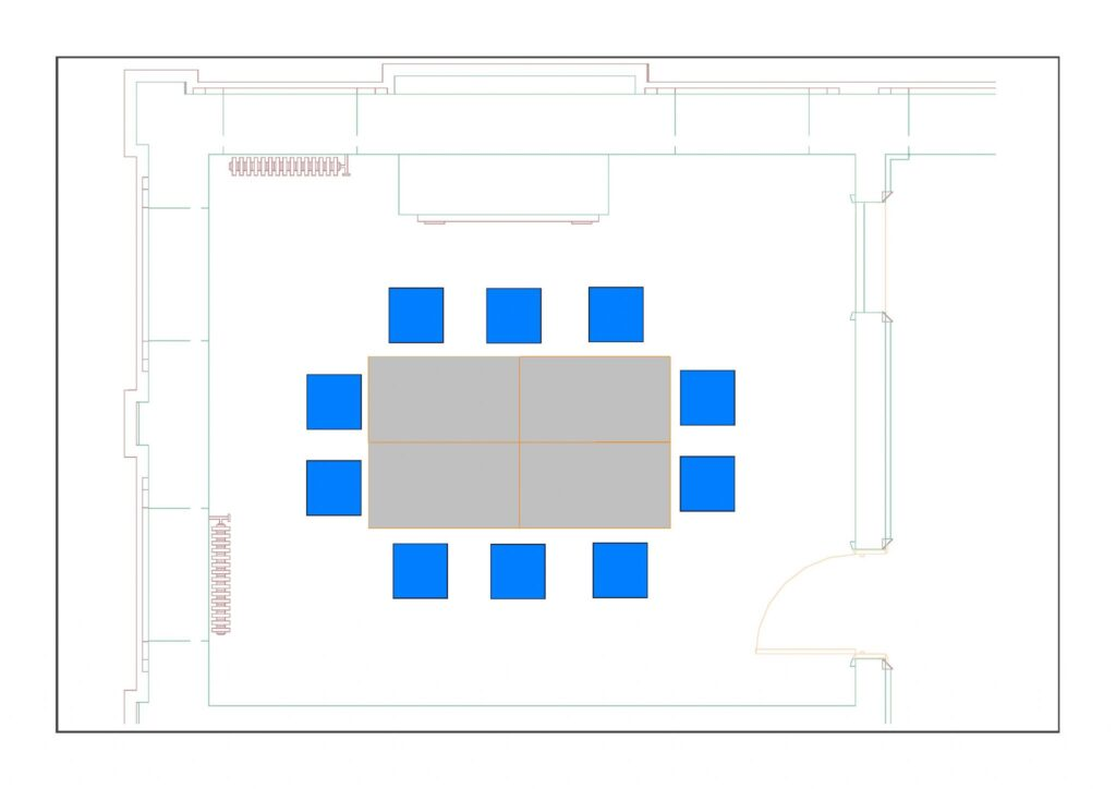 Multiuse Room 1 example layout with 10 chairs around 4 tables