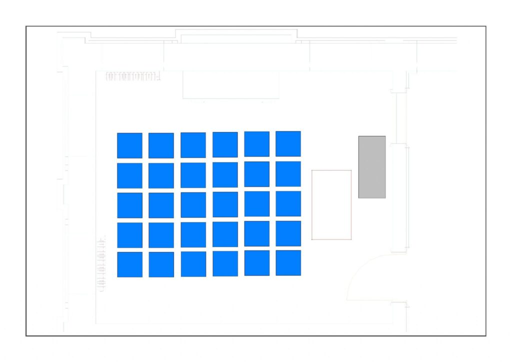 Multiuse Room 1 example layout with 30 chairs, 1 table and 1 television