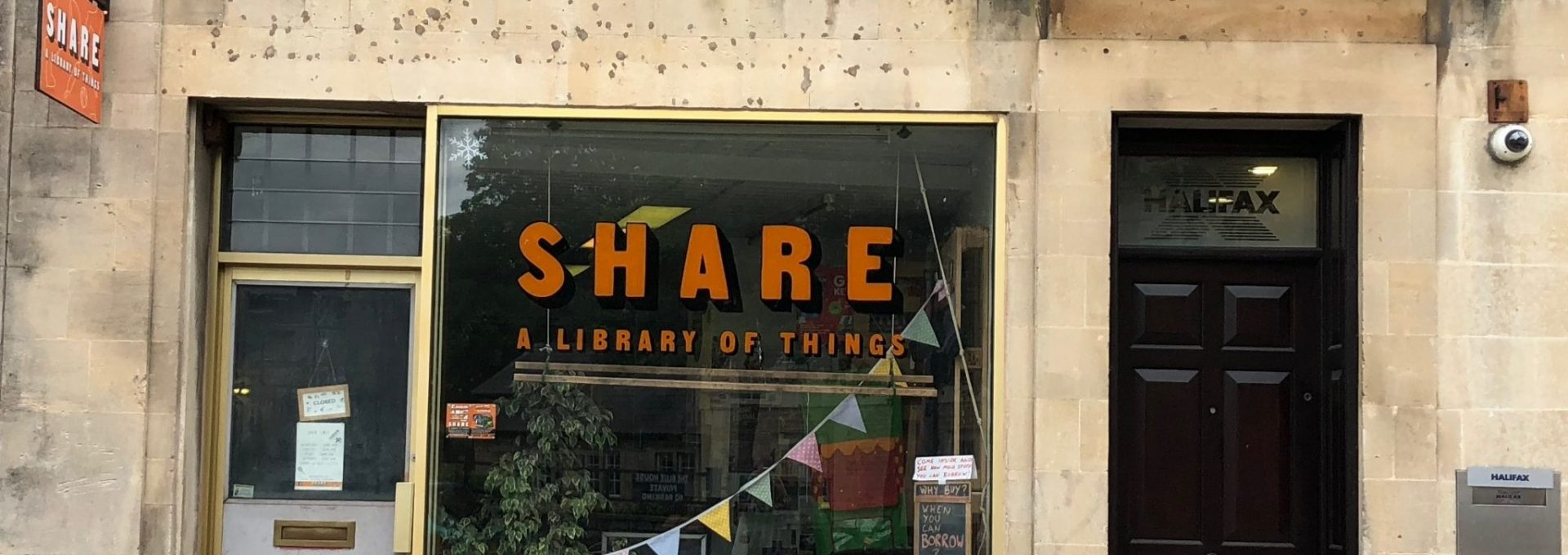 Photo of the front window of SHARE shop, Frome