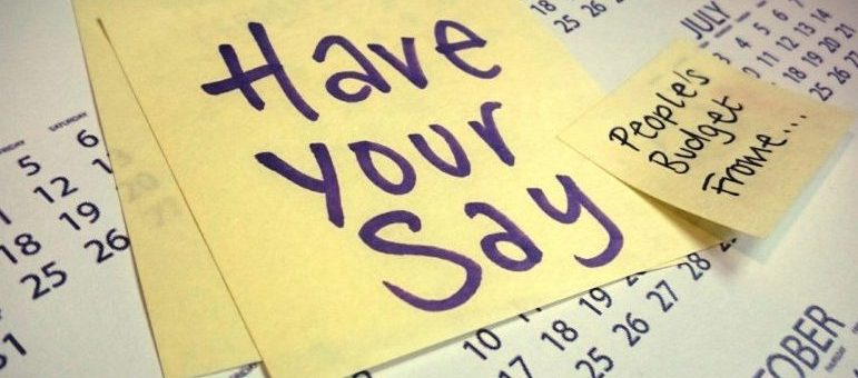 Post-it note with 'Have your say' written on it
