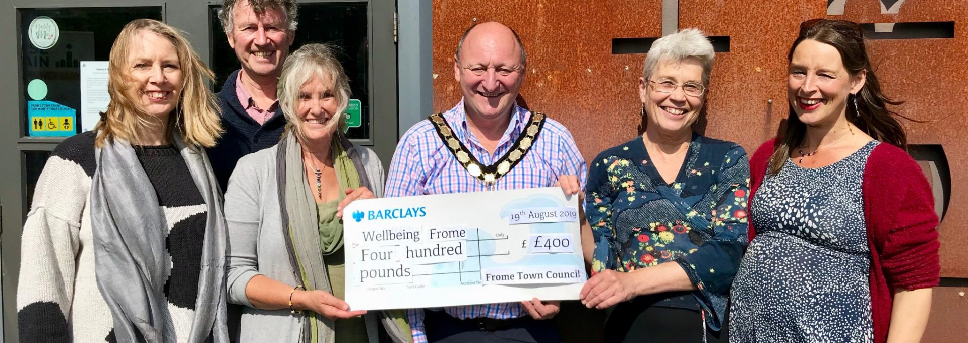 Wellbeing Frome Grant cheque presentation
