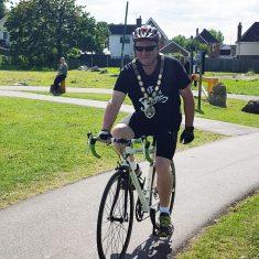 Frome Mayor, Mark Dorrington, on his bike for Ride Kids Ride