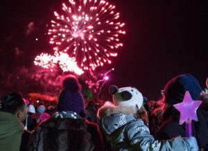 Families watching Frome Fireworks