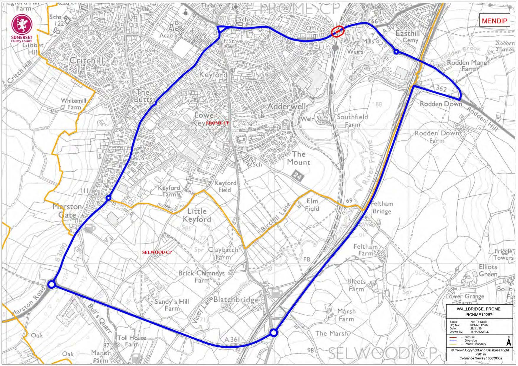 Map of temporary closure of Wallbridge Road