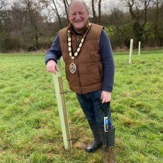 Mayor of Frome, Mark Dorrington, planting a tree