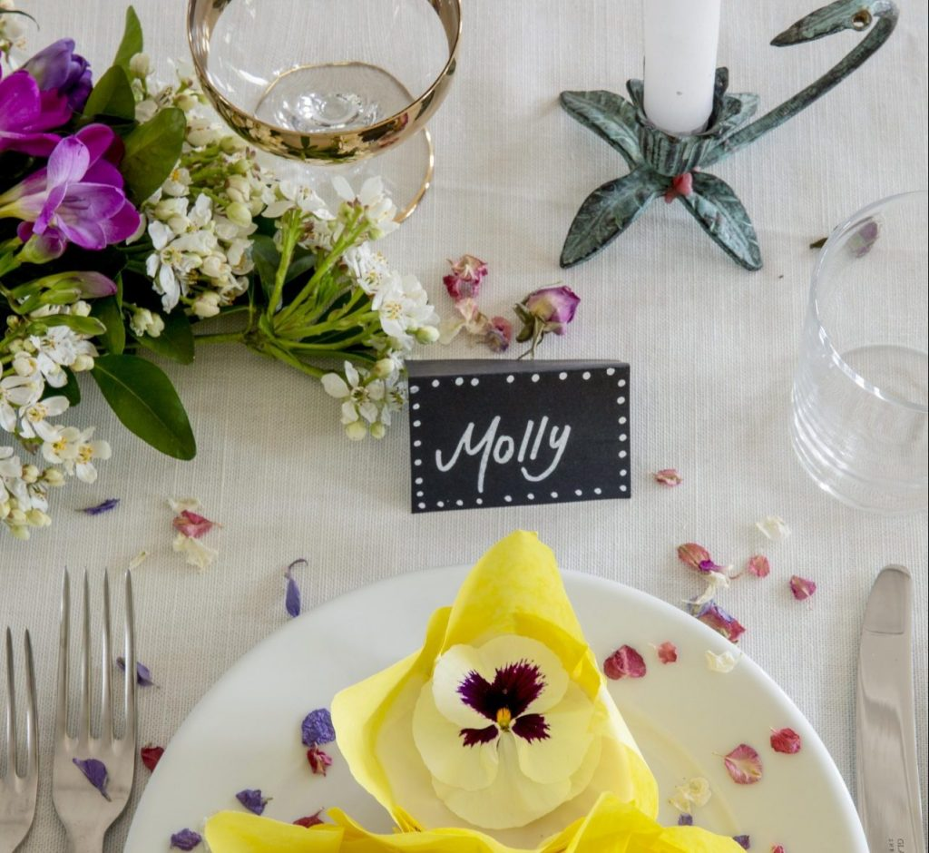 Place setting at wedding table.