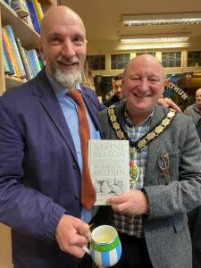 Mayor, Mark Dorrington, at the launch of Andrew Ziminski's book at Hunting Raven book shop in Frome