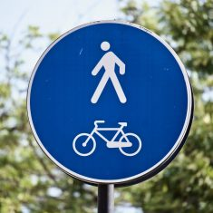 Walking and cycle lane sign