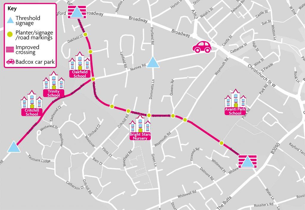 map of school street area as detailed in text below.