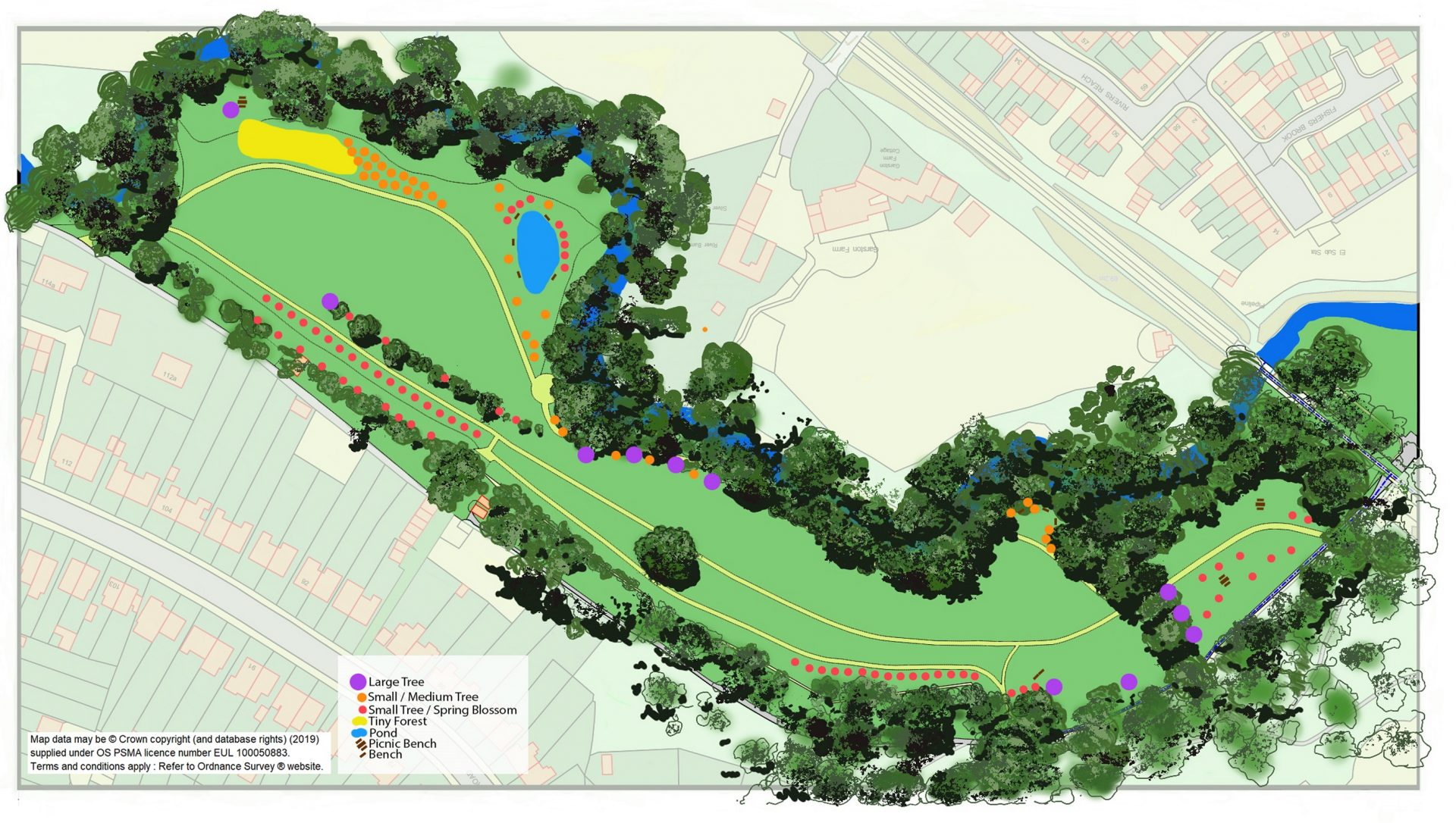 Map showing proposed tree planting in Rodden Meadow.