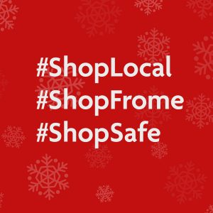 """Image displaying the hashtags """"Shop Frome"""", """"Shop Local"""" and """"Shop Safe"""""""