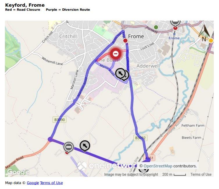 Map showing Keyford road closure