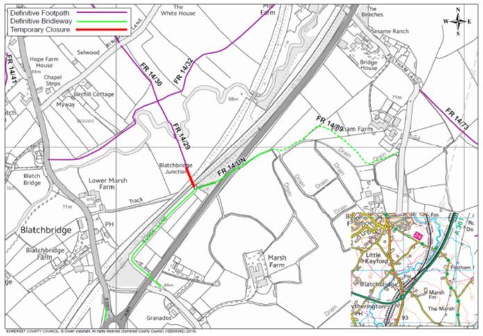Map of Budge Lane footpath closure