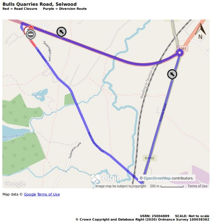 Map of Bull Quarries Road closure