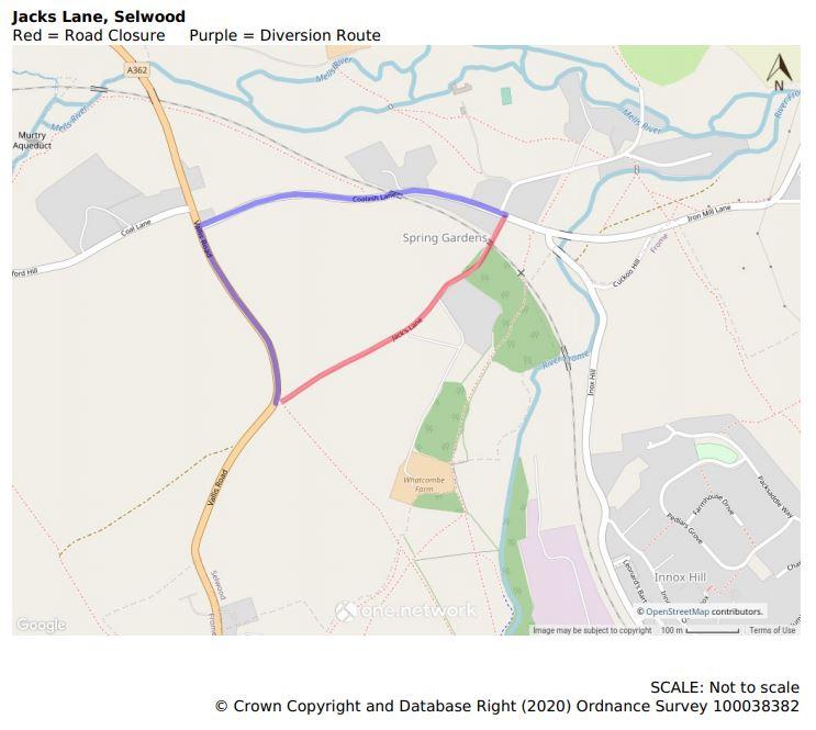 Map of Jacks Lane road closure