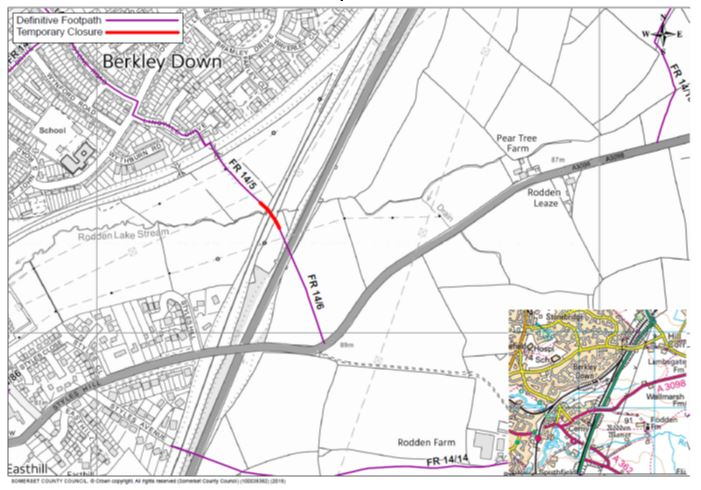 Map of FR 14/5 and 14/6 footpath closure
