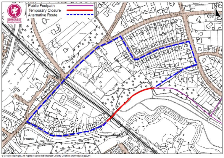 Map showing footpath closure at Pilly Vale railway bridge