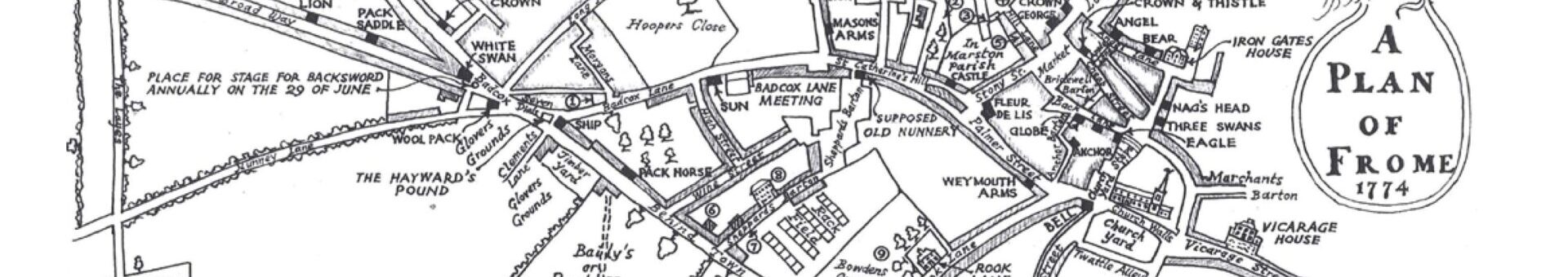 Old hand drawn map of Frome