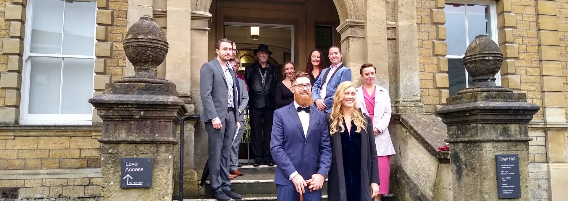 Wedding party on the steps of Frome Town Hall