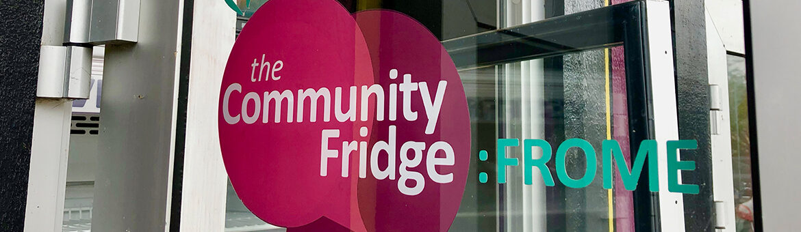 The door of Frome's community fridge featuring the fridge logo