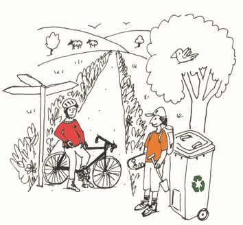 Cartoon drawing of a guy on a bike and another with a skateboard on a lane standing next to a recycling bin.