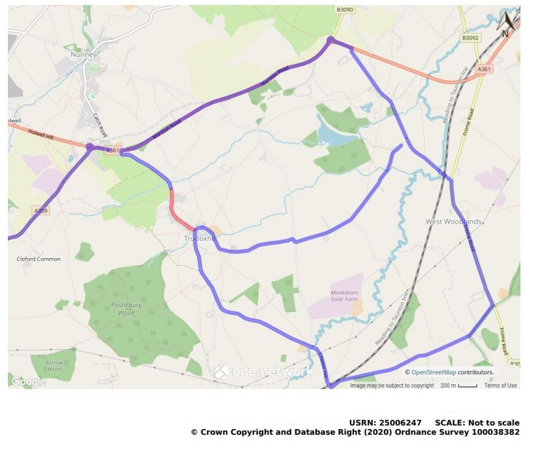 Main Frome Road to Foghamshire Lane road closure map