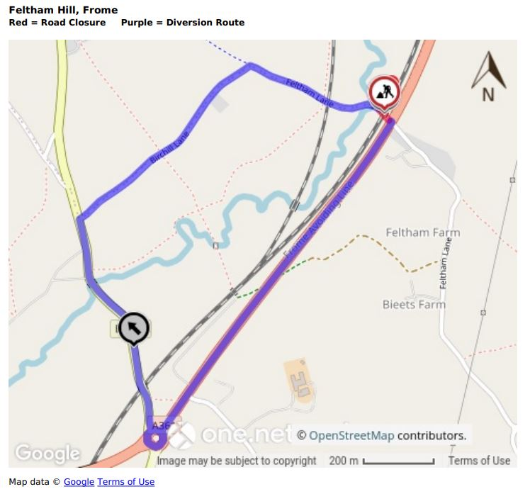 Map of Feltham Hill road closure and diversion route