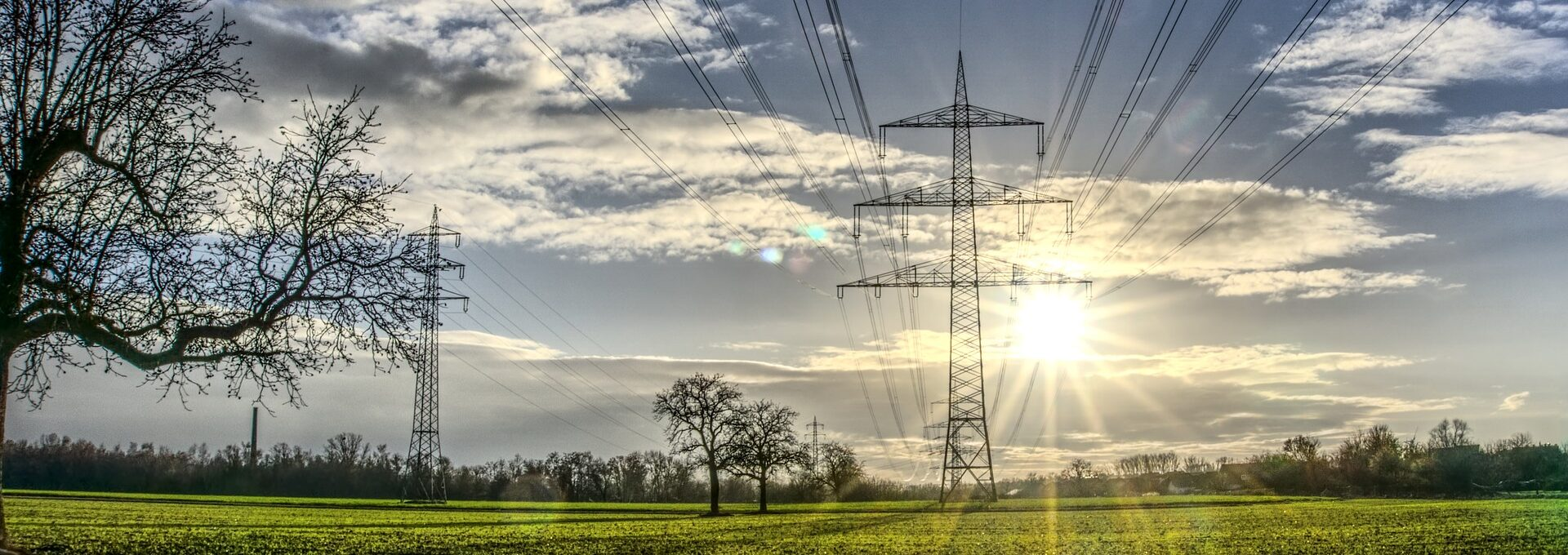 Electricity pylons in field