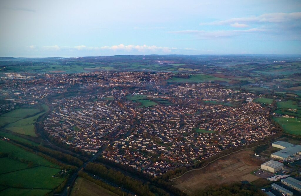 aerial shot of heart shaped Frome