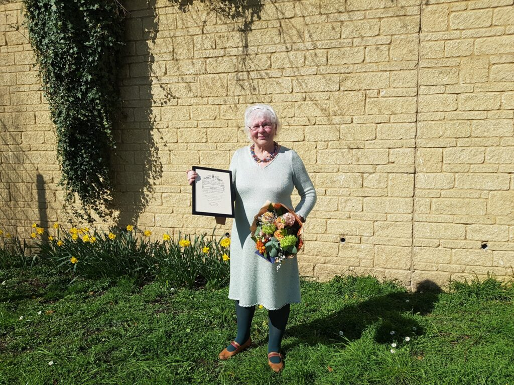Gill Fone with her Civic Award