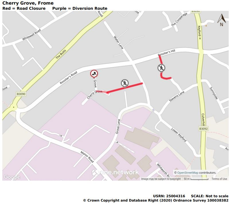 Cherry Grove road and footpath closure map