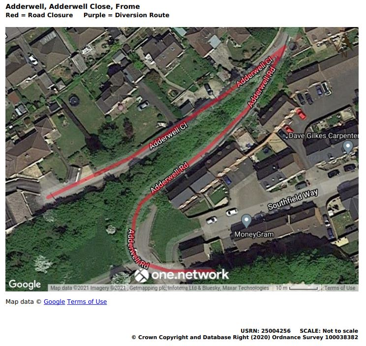 Map showing Adderwell road closure June 2021