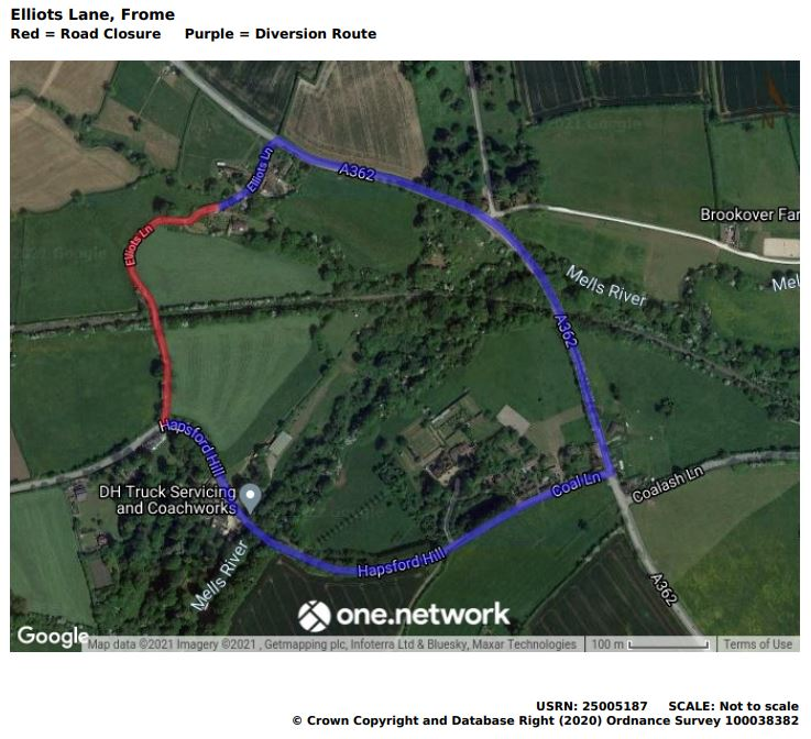 Map of Elliotts Lane road closure June 2021