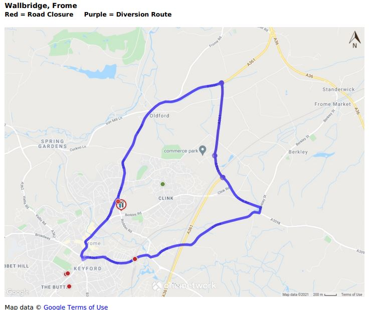 Map of Wallbridge road closure June 2021