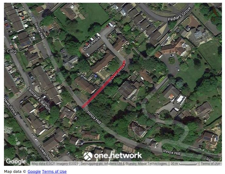 Map showing Over Innox road closure June 2021
