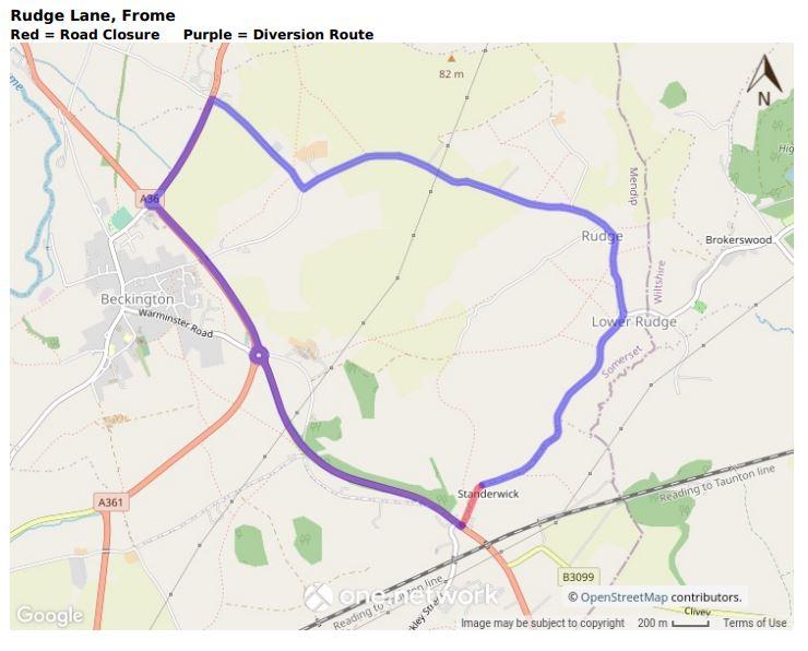 Map showing Rudge Lane road closure June 2021