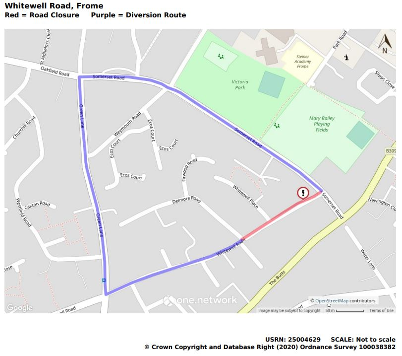 Map showing Whitewell Road closure and alternative route