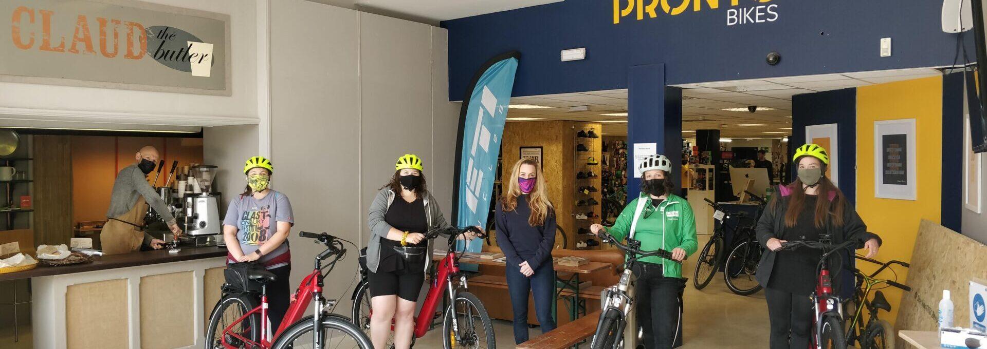 Ladies with bikes at Pronto bikes