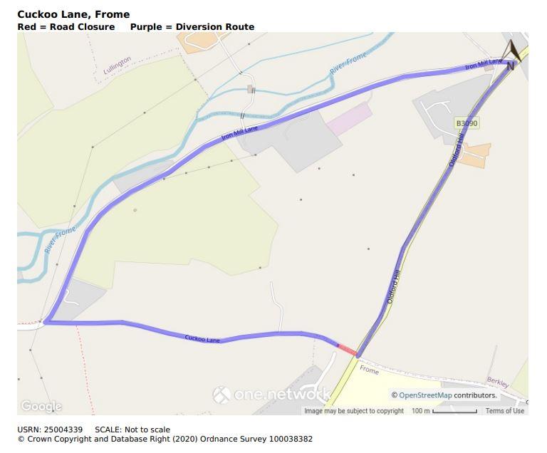 Map of Cuckoo Lane road closure